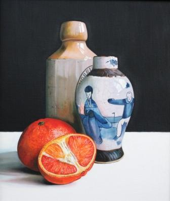 Scottish Artist Jane CRUICKSHANK - Stoneware Bottle, Chinese Pot and Oranges