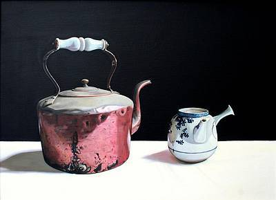 Scottish Artist Jane CRUICKSHANK - Copper Kettle and Chinese Pot
