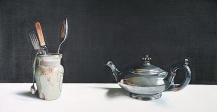 Jane CRUICKSHANK - Still Life with Pewter Teapot