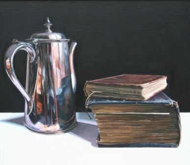Jane CRUICKSHANK - Old Books with Silver Coffee Pot
