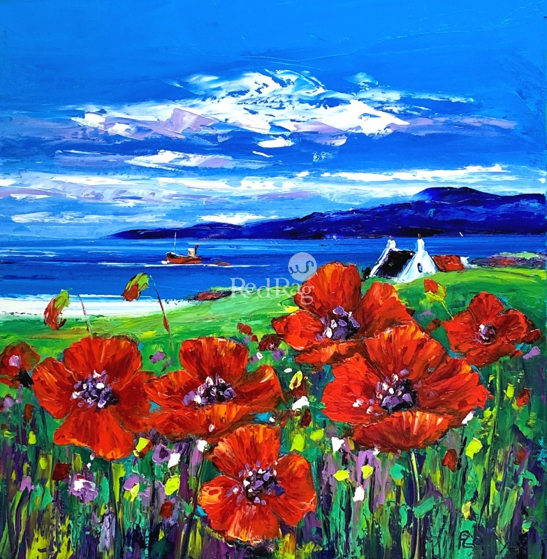Jean FEENEY - Arran Poppies and Clyde Puffer