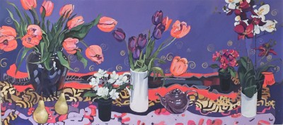 Scottish Artist Jennifer IRVINE - Tulips on a Blue Background
