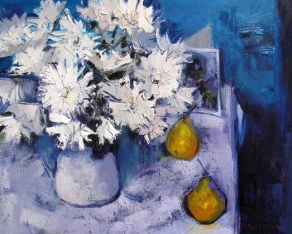 Scottish Artist Jennifer MacKENZIE - White flowers and Pears