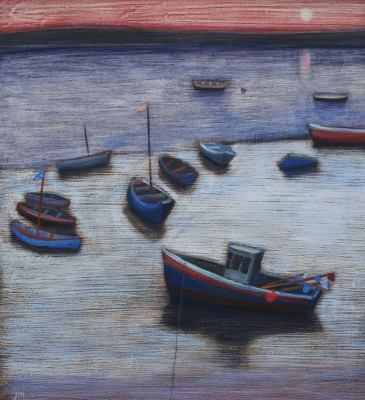 Scottish Artist Jock MacINNES RGI - Harbour Side at Sunset