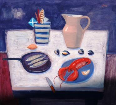 Scottish Artist Jock MacINNES - Still Life with Lobster