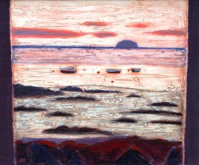 Scottish Artist Jock MacINNES - Rocky Shore with Ailsa Craig