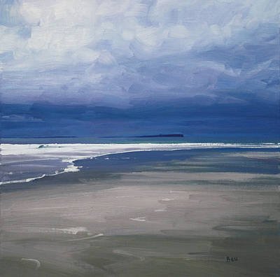 Scottish Artist John BELL - Heavy Winter Sky over Bamburgh Beach