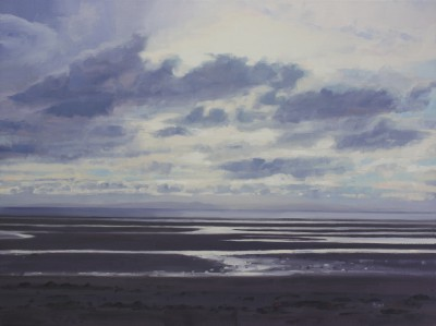 Scottish Artist John BELL - Evening sun breaking, Barassie Beach