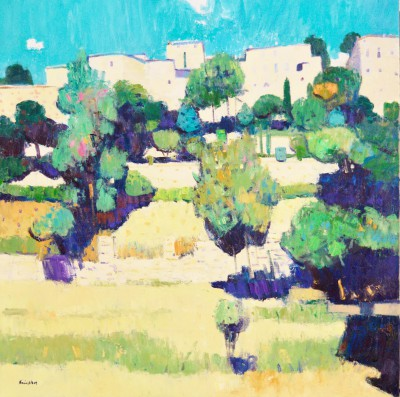 Scottish Artist John KINGSLEY - Terraced Gardens, Bonniuex