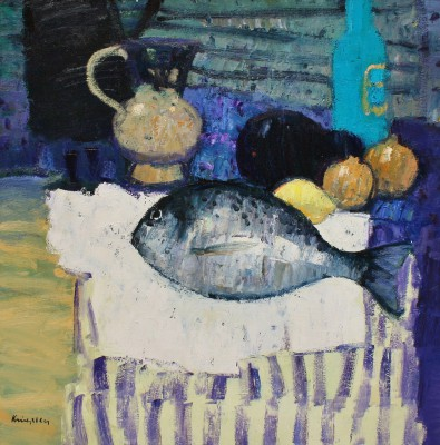 Scottish Artist John KINGSLEY PAI RSW  - Still Life with Sea Bass
