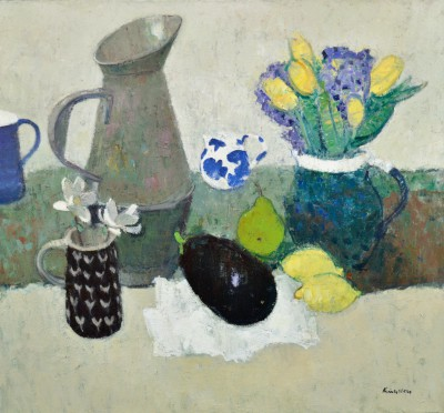 Scottish Artist John KINGSLEY PAI RSW  - Little Blue and White Jug