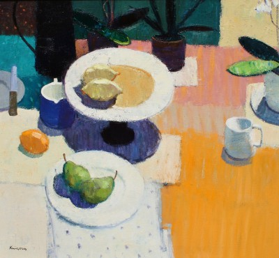 Scottish Artist John KINGSLEY PAI RSW  - Still Life with Pears and Lemons