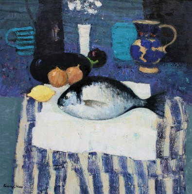 Scottish Artist John KINGSLEY PAI RSW  - Still Life with Sea Bream