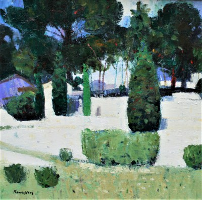 Scottish Artist John KINGSLEY PAI RSW  - Terraced Gardens, Cassis