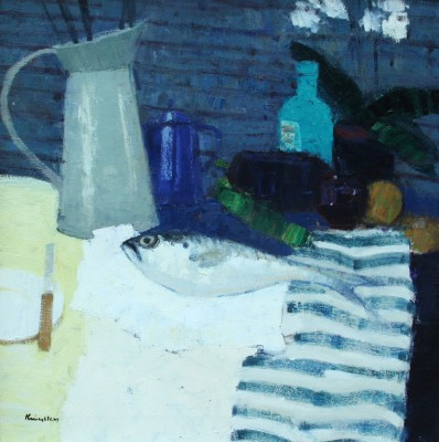 Scottish Artist John KINGSLEY PAI RSW  - Still Life with Fish and Blue Coffee Pot