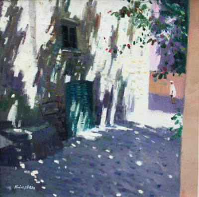 Scottish Artist John KINGSLEY PAI RSW  - Shaded Street, Calvi