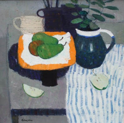 Scottish Artist John KINGSLEY PAI RSW  - Still Life with Fruit and Striped Cloth