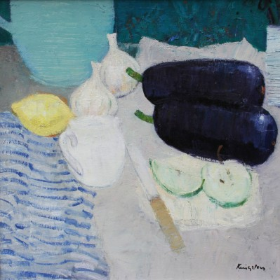 Scottish Artist John KINGSLEY PAI RSW  - Still Life with Aubergines