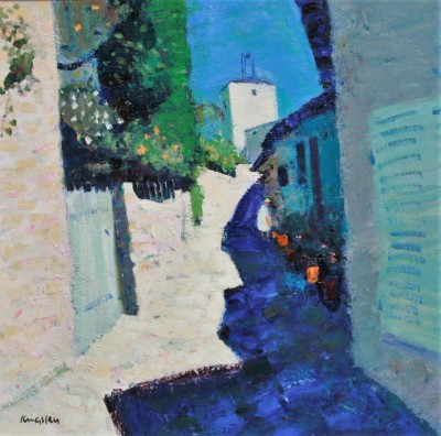 Scottish Artist John KINGSLEY PAI RSW  - Narrow Street, Grimaud