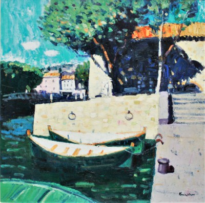 Scottish Artist John KINGSLEY PAI RSW  - Quayside, Collioure