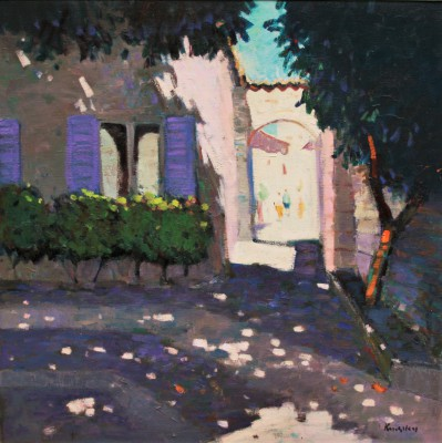 Scottish Artist John KINGSLEY PAI RSW  - Shaded Courtyard, Aspremont