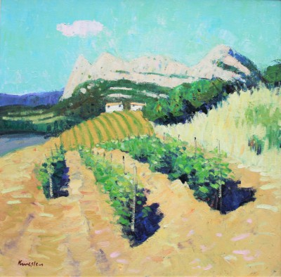 Scottish Artist John KINGSLEY PAI RSW  - Vineyard, Patrimonio, Corsica
