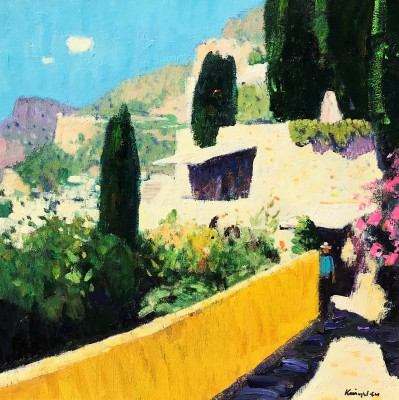 Roquebrune Cap Martin painting by artist John KINGSLEY PAI RSW