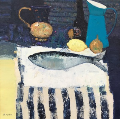 Scottish Artist John KINGSLEY PAI RSW  - Still Life with Fish and Striped Cloth