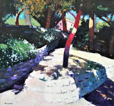 Scottish Artist John KINGSLEY PAI RSW  - Gardens at Beaulieu sur Mer