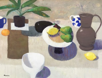 Scottish Artist John KINGSLEY PAI RSW  - Still Life with Blue and White Jug
