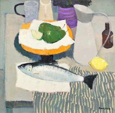 John KINGSLEY PAI RSW , contemporary artist - Still Life with Fish, Fruit and Jugs
