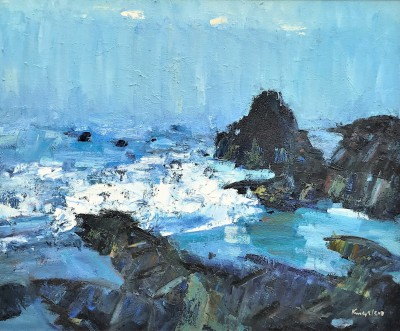 Rocky Coastline, Turnberry  painting by artist John KINGSLEY PAI RSW