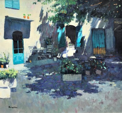 Scottish Artist John KINGSLEY PAI RSW  - Shaded Courtyard, St Remy de Provence