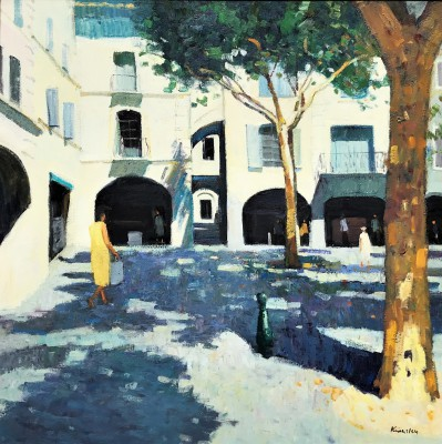 John KINGSLEY PAI RSW , contemporary artist - Shaded Square, Uzes