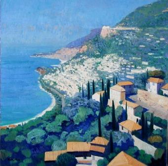 Scottish Artist John KINGSLEY - Monaco from Roquebrune-Cap-Martin
