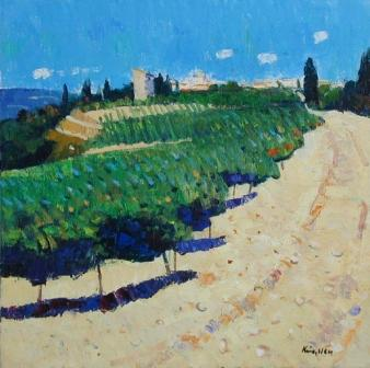 Scottish Artist John KINGSLEY - Vineyards, Buisson