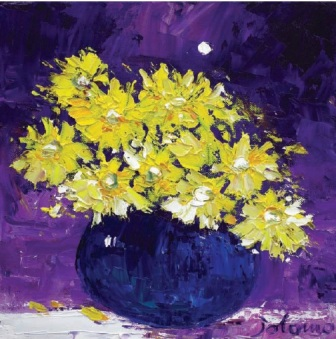 Yellow Daisies Under the Moon