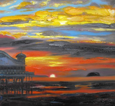 Scottish Artist Judith BRIDGLAND - Pier at Sunset