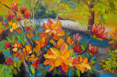 Judith BRIDGLAND - Azaleas by the Pond
