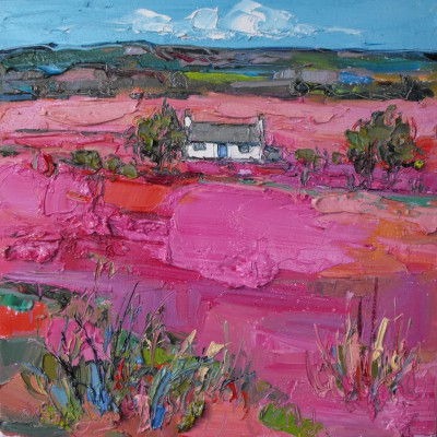 Judith BRIDGLAND - Pink Grasses and distant Cottage, Skye
