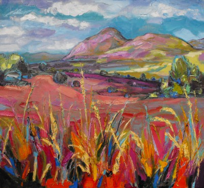 Scottish Artist Judith BRIDGLAND - Pink Autumn Grasses, Dumgoyne
