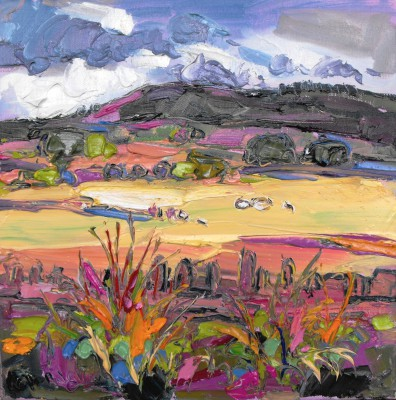 Scottish Artist Judith BRIDGLAND - Sheep in Fields