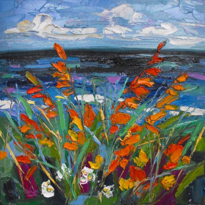 Scottish Artist Judith BRIDGLAND - Montbretia by the Sea