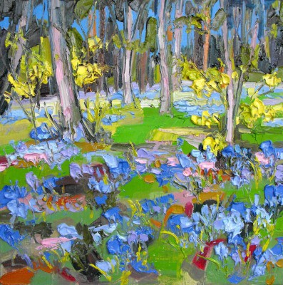 Scottish Artist Judith BRIDGLAND - Bluebells in Woodland