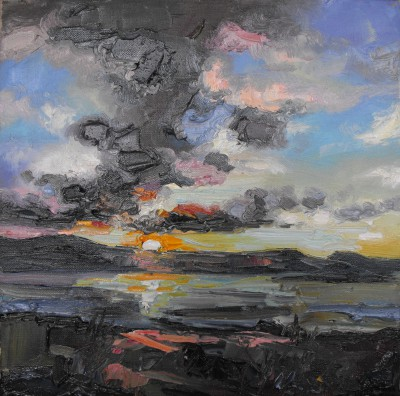 Scottish Artist Judith BRIDGLAND - Dark Clouds at Sunset, Loch Eribol