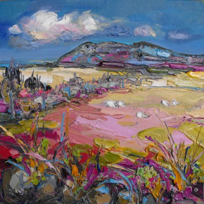 Scottish Artist Judith BRIDGLAND - Distant Sheep Grazing