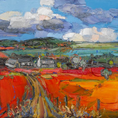 Gathering Clouds over Farm, Glenlivet painting by artist Judith BRIDGLAND