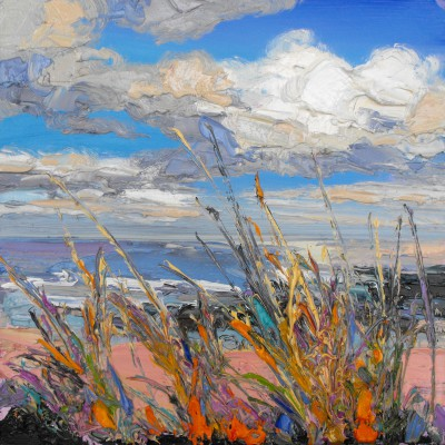 Vibrant Grasses by the Shore