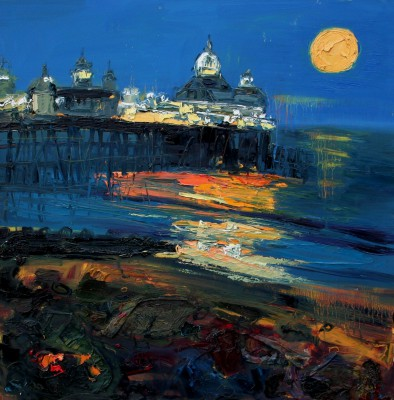 Scottish Artist Judith BRIDGLAND - Harvest Moon, Eastbourne Pier