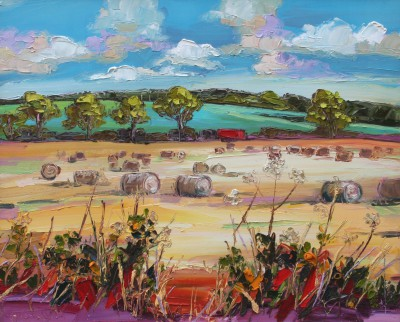 Scottish Artist Judith BRIDGLAND - Haybales, Ayrshire